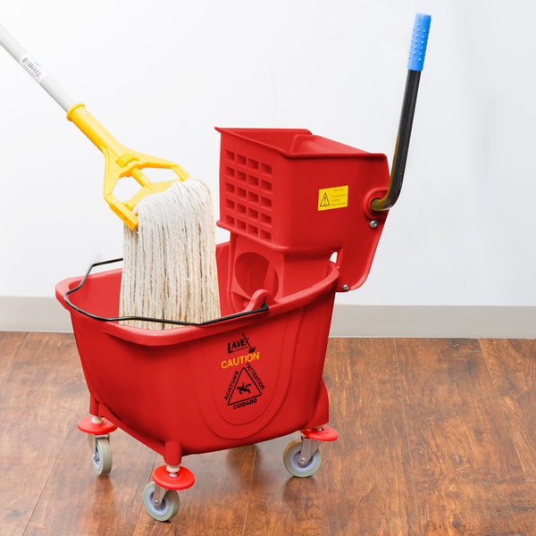 Lavex Janitorial 35 Qt. Red Mop Bucket & Side Press Wringer Combo Main Image 4
