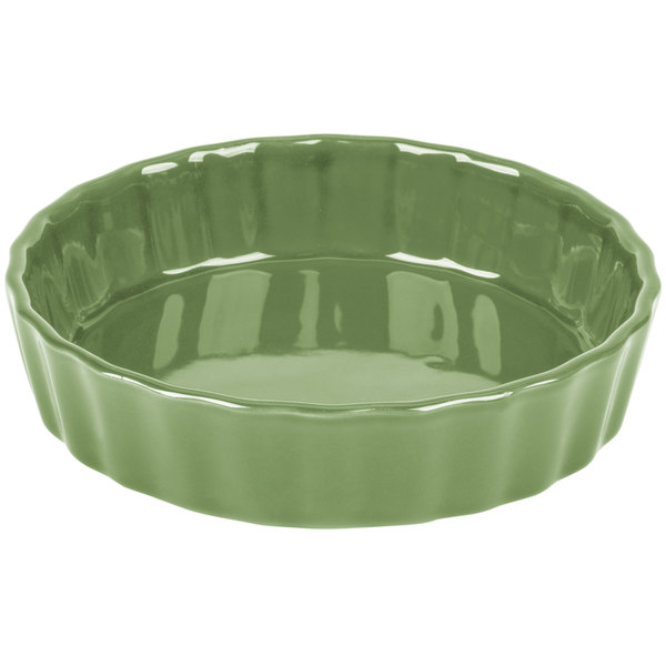 "CAC QCD-5GRE Festiware 5"" Green Fluted China Quiche Dish - 24/Case Main Image 1"