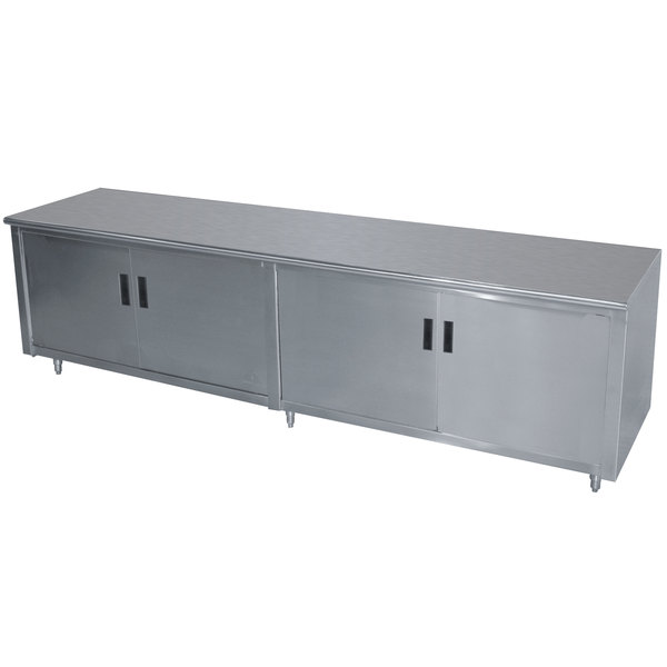 """Advance Tabco HB-SS-368M 36"""" x 96"""" 14 Gauge Enclosed Base Stainless Steel Work Table with Hinged Doors and Fixed Midshelf"""