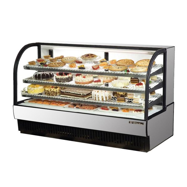 True TCGR-77 77 inch Stainless Steel Curved Glass Refrigerated Bakery Display Case