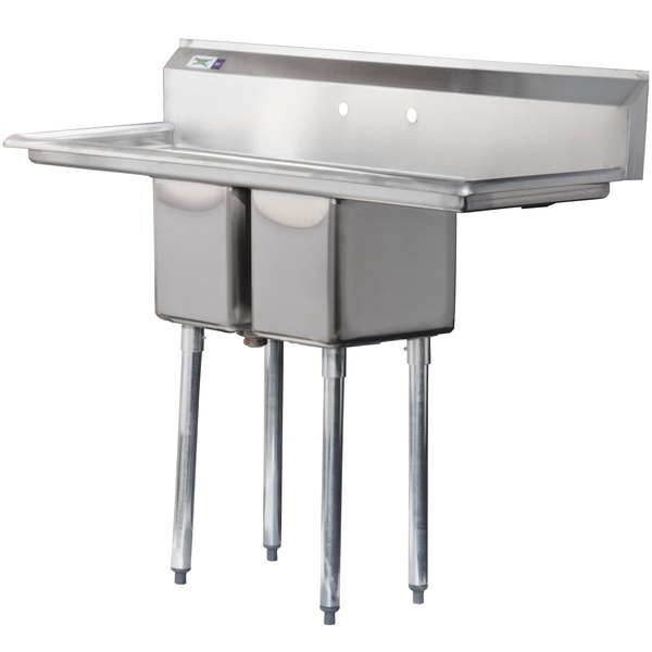 """Regency 54"""" 16-Gauge Stainless Steel Two Compartment Commercial Sink with Two Drainboards - 10"""" x 14"""" x 12"""" Bowls"""
