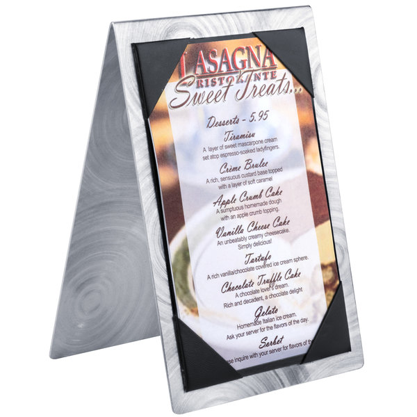 """Menu Solutions MTDBL-411 Alumitique Two View Swirl Aluminum Menu Tent with Picture Corners - 4 1/4"""" x 11"""""""