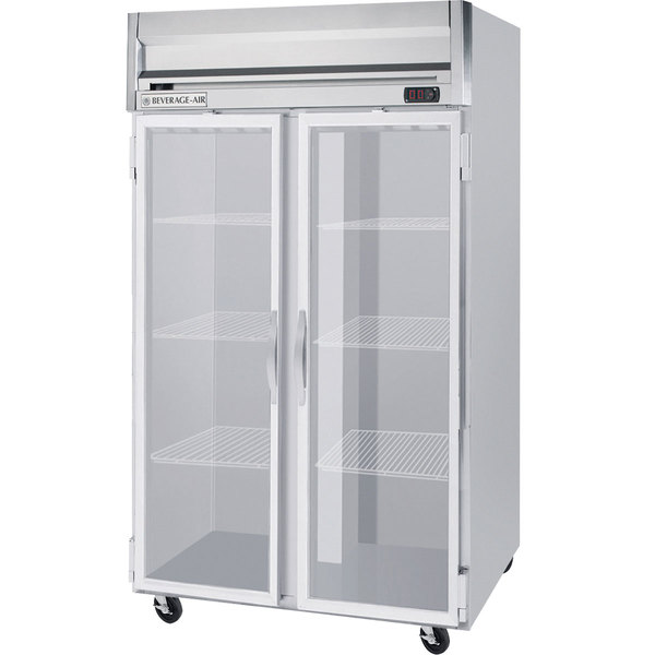 """Beverage-Air HRS2-1G Horizon Series 52"""" Glass Door Reach-In Refrigerator with Stainless Steel Interior and LED Lighting Main Image 1"""