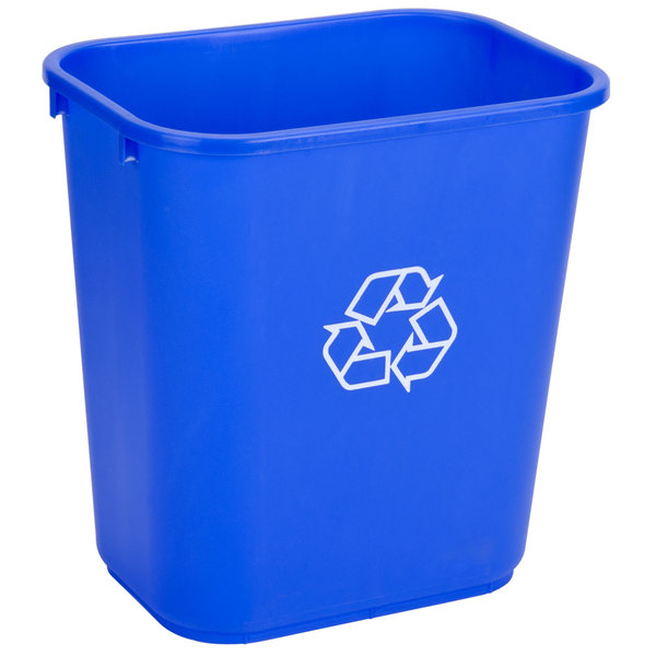Continental 2818-1 28 Qt. / 7 Gallon Blue Rectangular Recycling Wastebasket / Trash Can