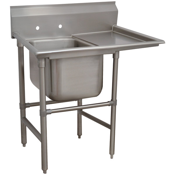 """Right Drainboard Advance Tabco 94-1-24-24 Spec-Line One Compartment Pot Sink with One Drainboard - 46"""""""