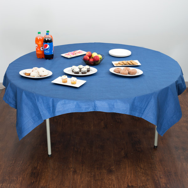 "Hoffmaster 220572 82"" x 82"" Cellutex Navy Blue Tissue / Poly Paper Table Cover - 25/Case"