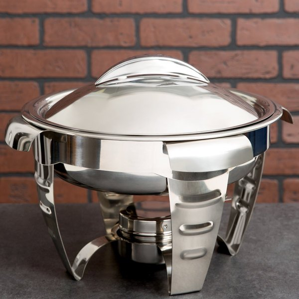 Vollrath 49521 4.2 Qt. Maximillian Steel Medium Round Chafer with Stainless Steel Accents Main Image 3