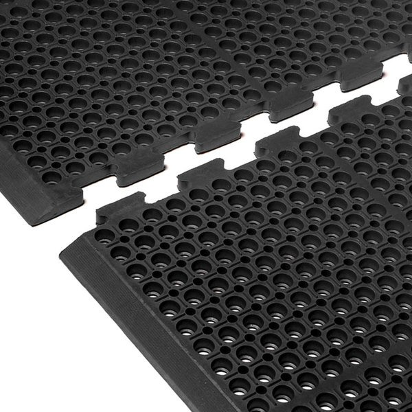 "Cactus Mat 4420-CEWB VIP Duralok 3' 2"" x 5' 1"" Black End Interlocking Anti-Fatigue Anti-Slip Floor Mat with Beveled Edge - 3/4"" Thick"