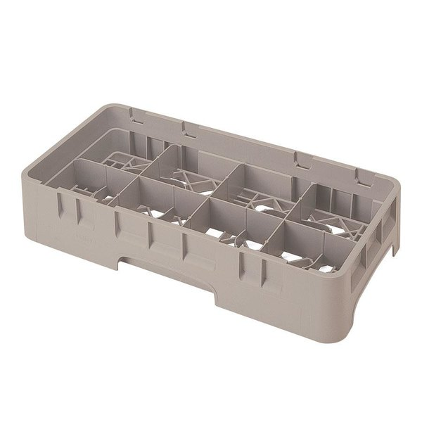 "Cambro 8HS958184 Beige Camrack Customizable 8 Compartment Half Size 10 1/8"" Glass Rack"