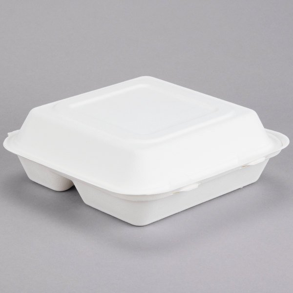 "Bare by Solo HC9CSC-2050 Eco-Forward 9"" x 9"" x 3"" 3-Compartment Sugarcane / Bagasse Take-Out Container - 200/Case Main Image 1"