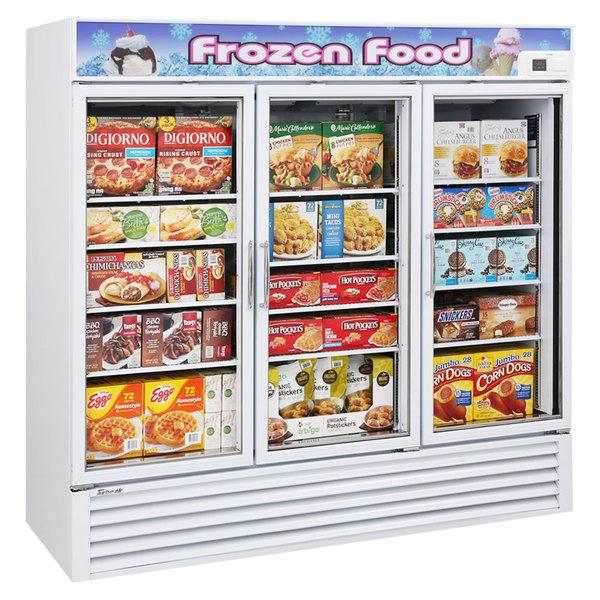 """Turbo Air TGF-72F-N White 82"""" Glass Door Merchandising Freezer Main Image 1"""