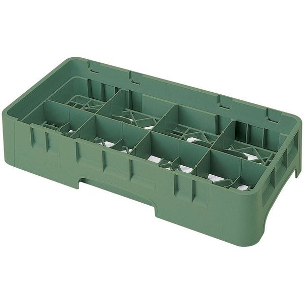 "Cambro 8HS1114119 Sherwood Green Camrack Customizable 8 Compartment 11 3/4"" Half Size Glass Rack"