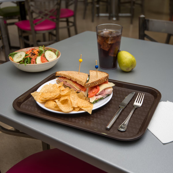 "Carlisle CT121669 Customizable Cafe 12"" x 16"" Chocolate Standard Plastic Fast Food Tray - 24/Case"