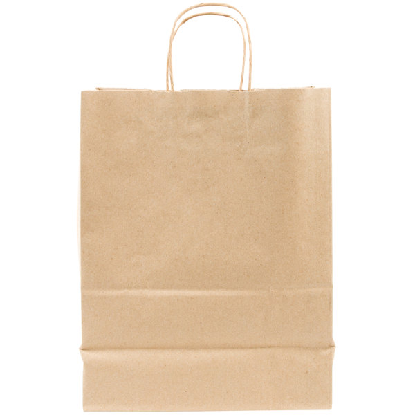 Duro Missy Natural Kraft Paper Shopping Bag with Handles 10 inch x 5 inch x 13 inch  - 250/Bundle