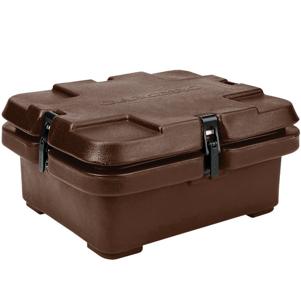 """Cambro 240MPC131 Camcarrier 4"""" Deep Dark Brown Top Loading Inuslated Food Pan Carrier"""