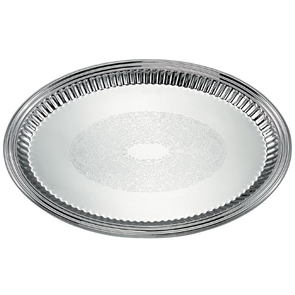 "Vollrath 82173 Esquire 21"" x 15 1/2"" Oval Fluted Stainless Steel Tray Main Image 1"
