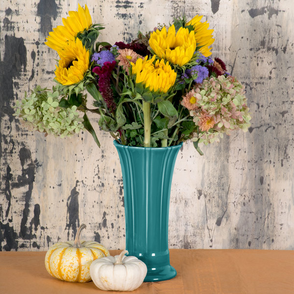 "Homer Laughlin 491107 Fiesta Turquoise 9 5/8"" Medium Vase - 4/Case"