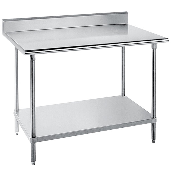 "Advance Tabco KLG-305 30"" x 60"" 14 Gauge Work Table with Galvanized Undershelf and 5"" Backsplash"