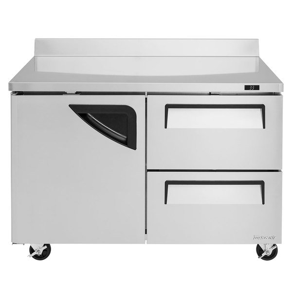"""Turbo Air TWR-48SD-D2-N Super Deluxe 48"""" Worktop Refrigerator with One Door and Two Drawers Main Image 1"""