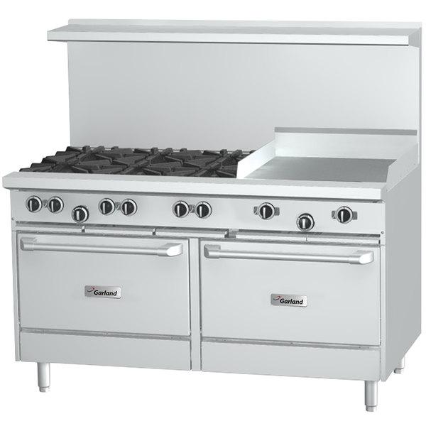 """Garland G60-8G12RS Natural Gas 8 Burner 60"""" Range with 12"""" Griddle, Standard Oven, and Storage Base - 320,000 BTU Main Image 1"""
