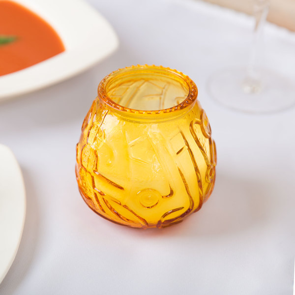 "Sterno Products 40118 4 1/8"" Amber Venetian Candle - 12/Case"