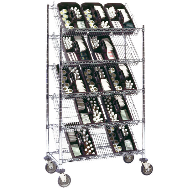 "Metro DC36EC 36"" x 18"" Five Slanted Shelf Merchandiser / Dispenser Rack"