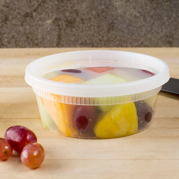 Pactiv/Newspring YL2508 8 oz. Translucent Round Deli Container Combo Pack - 240/Case