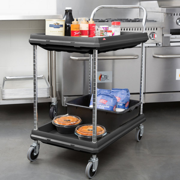 """Metro BC2030-2DBL Black Utility Cart with Two Deep Ledge Shelves 32 3/4"""" x 21 1/2"""""""