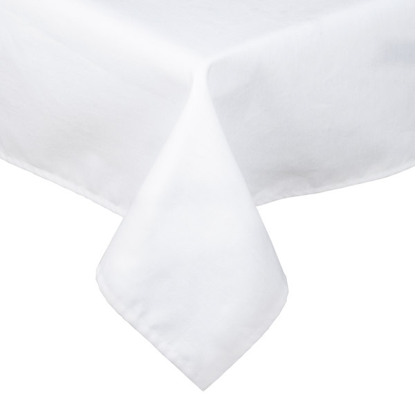 """White Hemmed Poly Cotton Tablecloth - 45"""" x 45"""""""