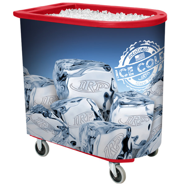 IRP Red Server Elite Deepcore 5073 Portable Insulated Ice Bin / Beverage Cooler / Merchandiser with Cash Drawer and Tray 100 Qt.