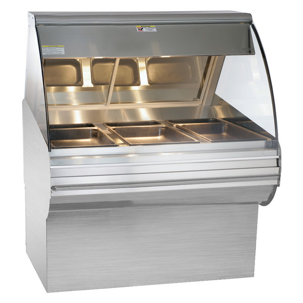 Alto-Shaam HN2SYS-48 S/S Stainless Steel Heated Display Case with Curved Glass and Base 48""