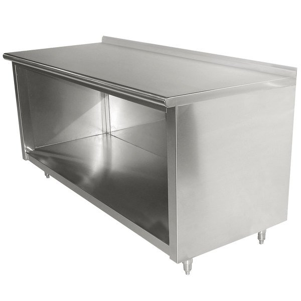 "Advance Tabco EF-SS-304 30"" x 48"" 14 Gauge Open Front Cabinet Base Work Table with 1 1/2"" Backsplash"