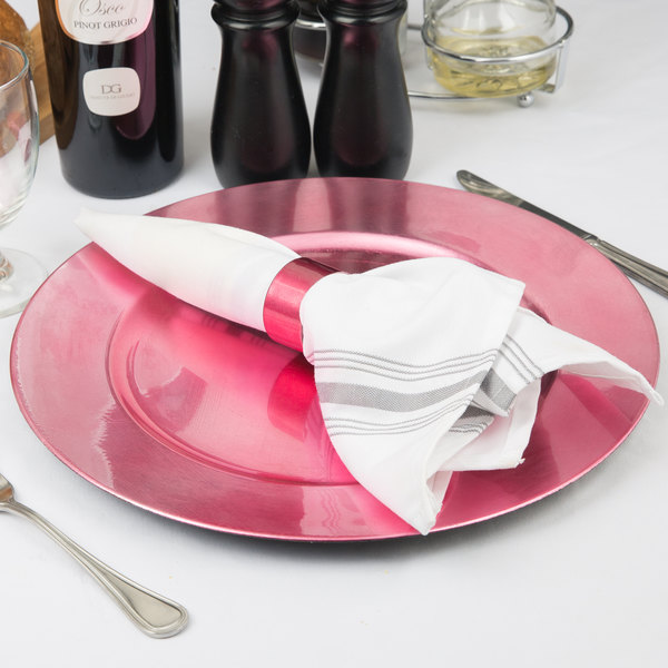 """Tabletop Classics by Walco TRPK-6651 13"""" Pink Round Polypropylene Charger Plate"""