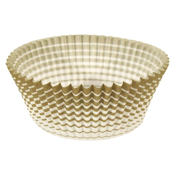 "Ateco 6409 1"" x 3/4"" Gold Striped Baking Cups - 200/Box"