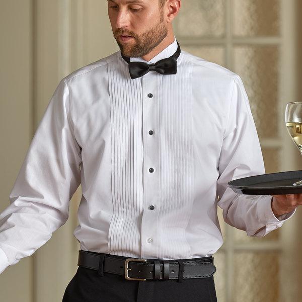 Henry Segal Men's Customizable White Tuxedo Shirt with Wing Tip Collar - XL Main Image 1