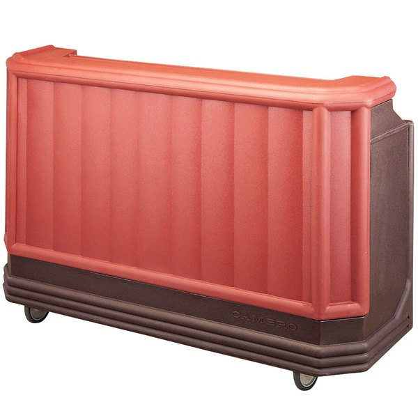 "Cambro BAR730189 Brown Mahogany Cambar 73"" Portable Bar with 7 Bottle Speed Rail"