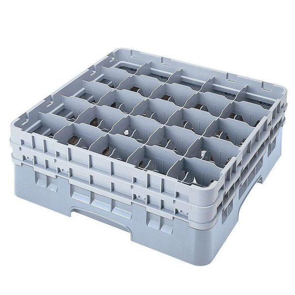 """Cambro 25S638151 Camrack 6 7/8"""" High Customizable Soft Gray 25 Compartment Glass Rack"""