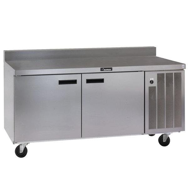 "Delfield 18672BSTMP 72"" Worktop Refrigerator with Two Doors and Backsplash Main Image 1"