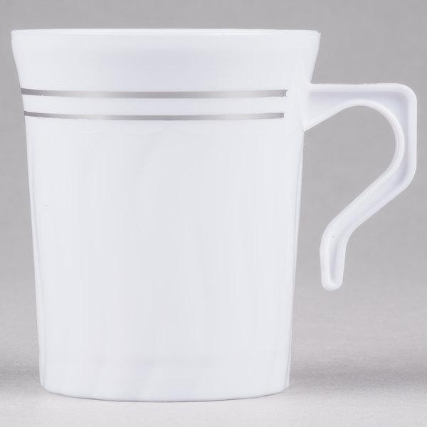 Fineline Silver Splendor 508-WH 8 oz. White Plastic Coffee Mug - 12/Pack Main Image 1