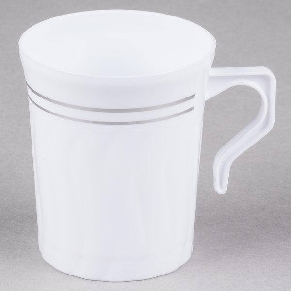 Fineline Silver Splendor 508 Wh 8 Oz White Plastic Coffee Mug 12 Pack