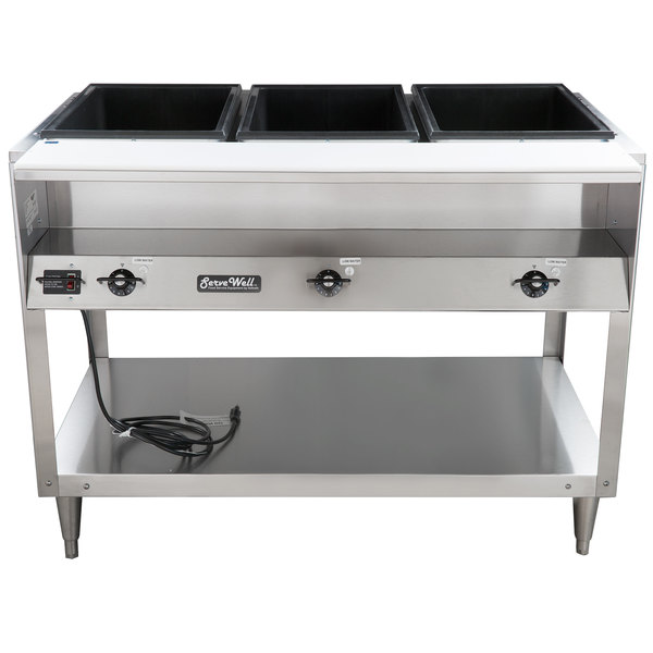 Vollrath ServeWell Electric Three Pan Hot Food Table V - Three well steam table
