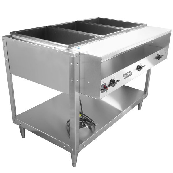 Vollrath 38003 ServeWell Electric Three Pan Hot Food Table 120V - Sealed Well Main Image 1