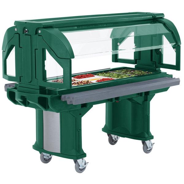 Cambro VBRHD5519 Green 5' Versa Food / Salad Bar with Heavy Duty Casters