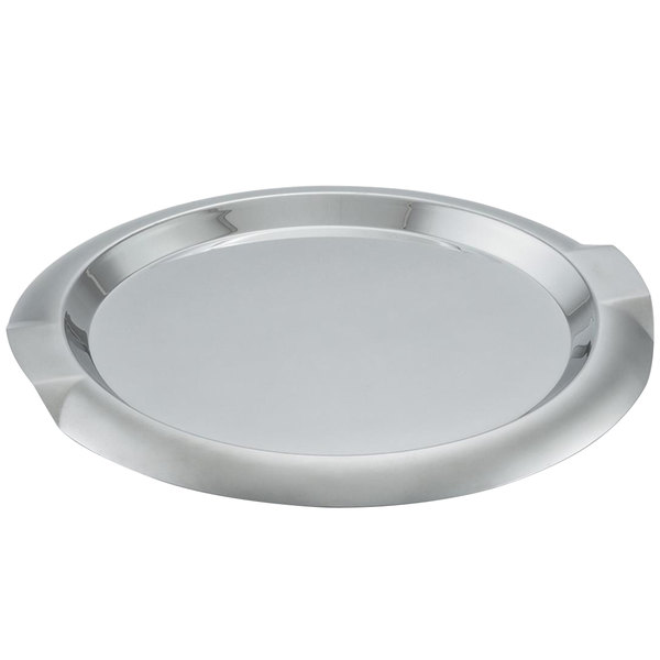 Vollrath 82097 Round Stainless Steel Serving Tray with Handles - 14""