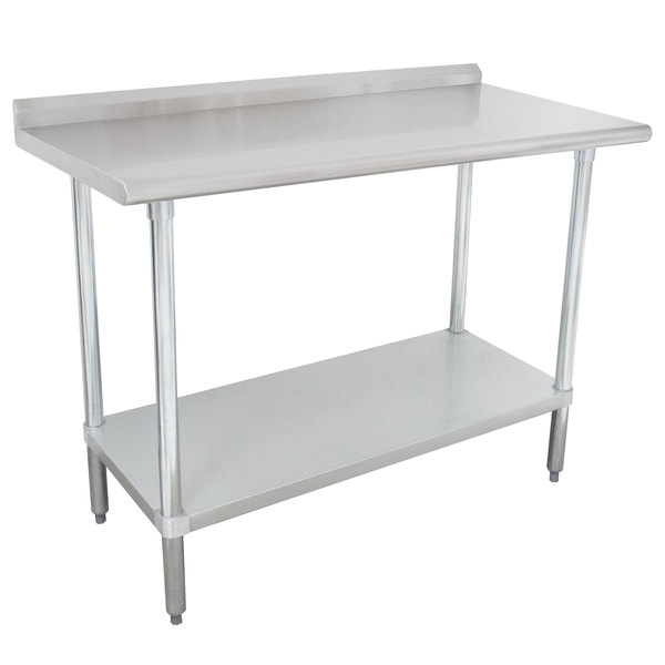 """Advance Tabco FLAG-243-X 24"""" x 36"""" 16 Gauge Stainless Steel Work Table with 1 1/2"""" Backsplash and Galvanized Undershelf"""