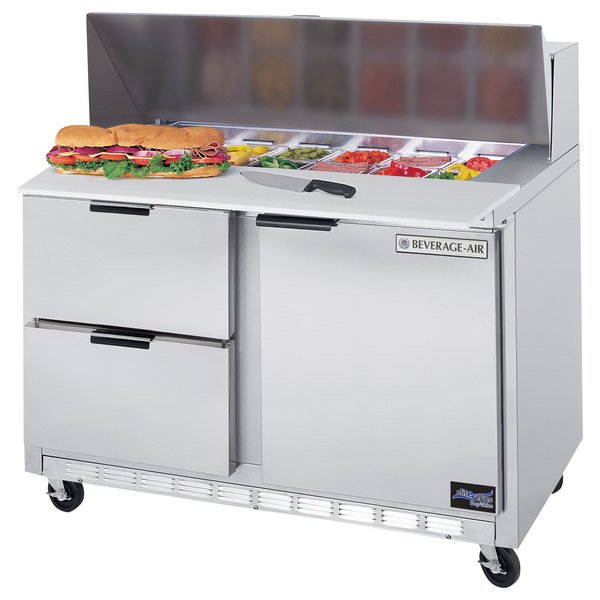 "Beverage-Air SPED48HC-08C-2 48"" 1 Door 2 Drawer Cutting Top Refrigerated Sandwich Prep Table with 17"" Wide Cutting Board Main Image 1"