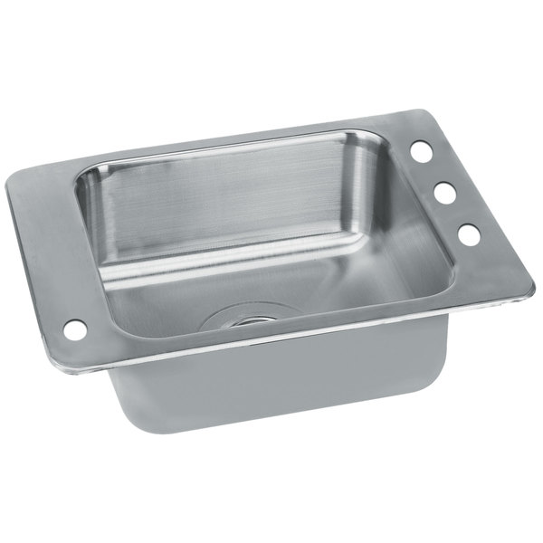 """Advance Tabco SCH-1-2517L 1 Bowl Stainless Steel Drop-In Classroom Sink with Hole for Left Mounted Bubbler - 23"""" x 17"""" Main Image 1"""