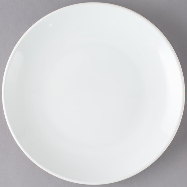 For a trendy departure from traditional dinnerware serve your menu items on this stunning Core 9\  round bright white coupe china plate! & Core 9\