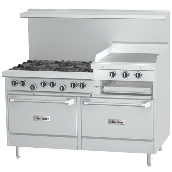 "Garland SunFire Series X60-6R24RR Natural Gas 6 Burner Gas Range with 24"" Raised Griddle/Broiler and Two Standard Ovens Main Image 1"