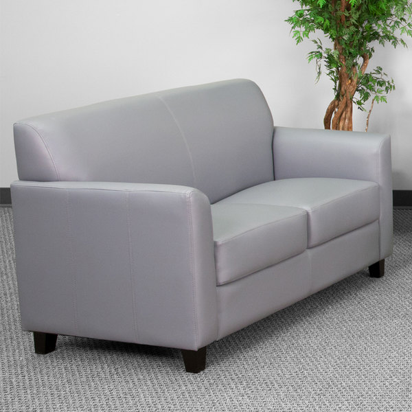 Flash Furniture BT-827-2-GY-GG Hercules Diplomat Gray Leather Loveseat with Wooden Feet Main Image 2